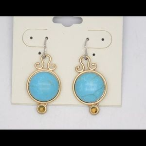 ROUND GOLD TURQUOISE BLUE DANGLE EARRINGS